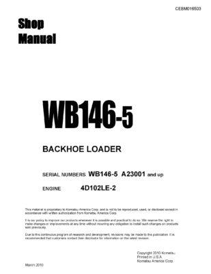 BACKHOE LOADER WB146-5 SERIAL NUMBERS A23001 and up Workshop Repair Service Manual PDF download