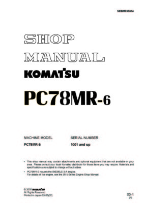 Komatsu PC78MR-6 Hydraulic Excavator Workshop Repair Service Manual PDF Download