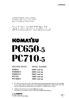 Komatsu PC650-5/ PC710-5 Hydraulic Excavator Workshop Repair Service Manual PDF Download