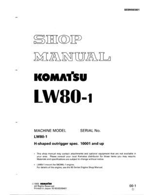 Komatsu LW80-1 Mobile Cranes Workshop Repair Service Manual PDF Download