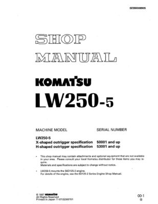 Komatsu LW250-5 Mobile Cranes Workshop Repair Service Manual PDF Download