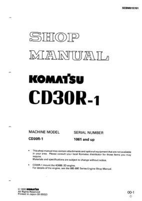 Komatsu CD30R-1 Crawler carrier Workshop Repair Service Manual PDF Download