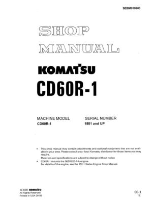 Komatsu CD60R-1 Crawler carrier Workshop Repair Service Manual PDF Download