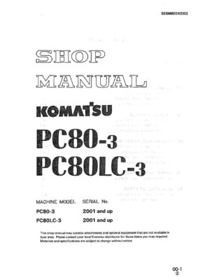 Komatsu PC80-3/ PC80LC-3 Hydraulic Excavator Workshop Repair Service Manual PDF Download