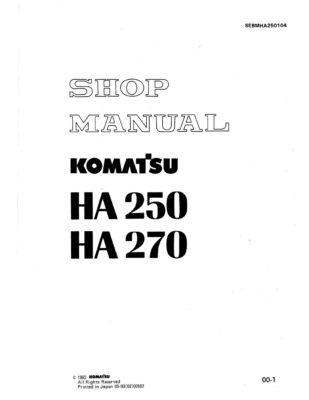 Komatsu HA250/ HA270 ARTICULATED DUMP TRUCK Workshop Repair Service Manual PDF Download