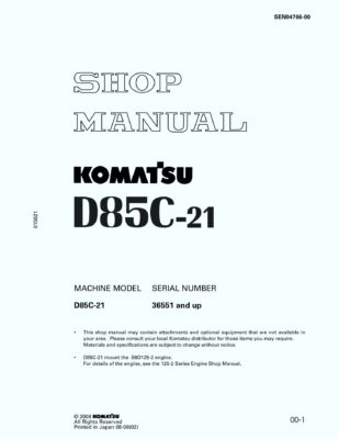 Komatsu D85C-21 Pipelayers Workshop Repair Service Manual PDF Download