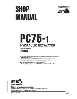 Komatsu PC75-1 Hydraulic Excavator Workshop Repair Service Manual PDF Download
