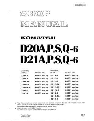 BULLDOZER D20-6/ D21-6 A,P,S,Q SERIAL NUMBERS 60001 and up Workshop Repair Service Manual PDF download