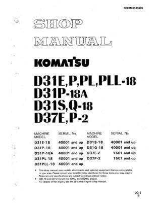 BULLDOZER D31-18 seri/ D37E-2/ D37P-2 SERIAL NUMBERS 40001 and up Workshop Repair Service Manual PDF download