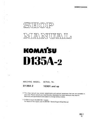 BULLDOZER D135A-2 SERIAL NUMBER 10301 and up Workshop Repair Service Manual PDF Download