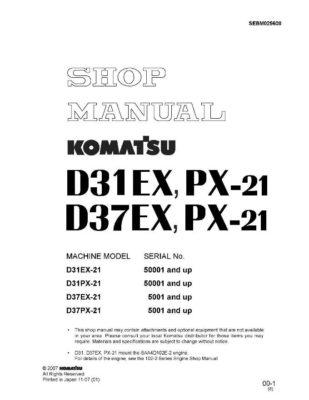 BULLDOZER D31EX-21/ D31PX-21/ D37EX-21/ D37PX-21 SERIAL NUMBER 50001 and up Workshop Repair Service Manual PDF Download