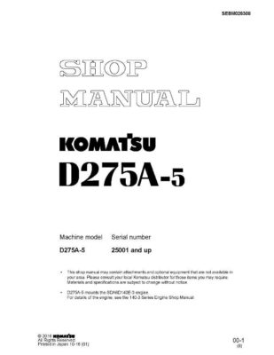 BULLDOZER D275A-5 SERIAL NUMBER 25001 and up Workshop Repair Service Manual PDF download