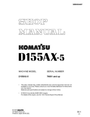 BULLDOZER D155AX-5 SERIAL NUMBER 76001 and up Workshop Repair Service Manual PDF download