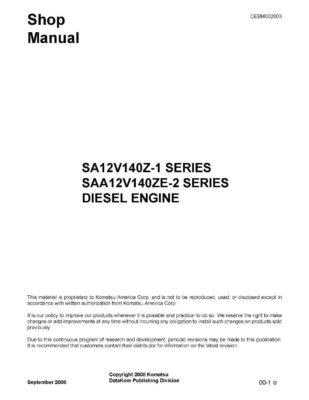 Komatsu DIESEL ENGINE SA12V140Z-1 SERIES, SAA12V140ZE-2 SERIES Workshop Repair Service Manual PDF Download