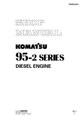 Komatsu DIESEL ENGINE 95-2 SERIES Workshop Repair Service Manual PDF Download