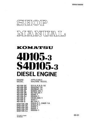 Komatsu DIESEL ENGINE 105 Series 4D105-3, S4D105-3 Workshop Repair Service Manual PDF Download