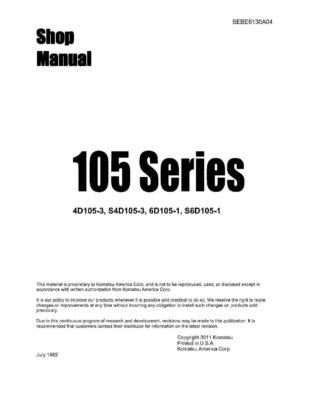 Komatsu DIESEL ENGINE 105 Series 4D105-3, S4D105-3, 6D105-1, S6D105-1 Workshop Repair Service Manual PDF Download