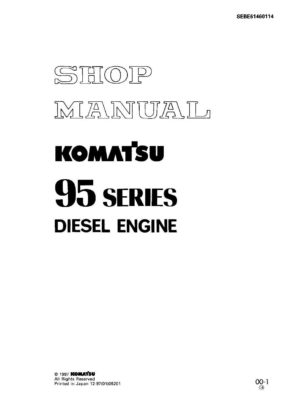 Komatsu DIESEL ENGINE 95 SERIES Workshop Repair Service Manual PDF Download