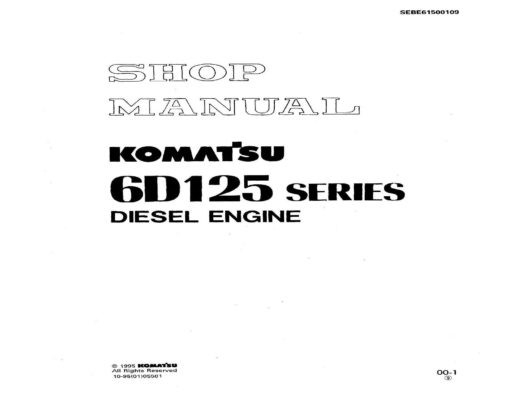 Komatsu DIESEL ENGINE 6D125 SERIES Workshop Repair Service Manual PDF Download