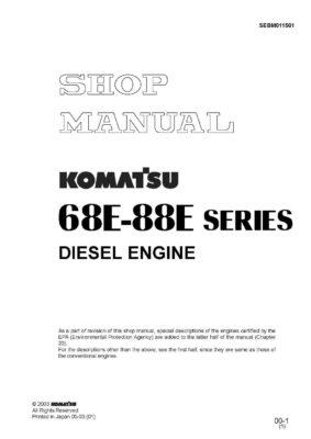 Komatsu DIESEL ENGINE 68E SERIES, 88E SERIES Workshop Repair Service Manual PDF Download