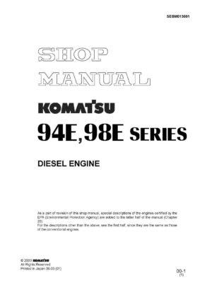 Komatsu DIESEL ENGINE 94E SERIES, 98E SERIES Workshop Repair Service Manual PDF Download