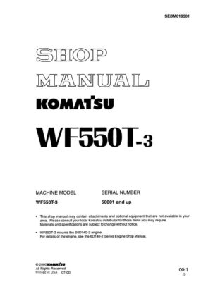 TRASH COMPACTOR WF550T-3 SERIAL NUMBERS 50001 and up Workshop Repair Service Manual PDF Download