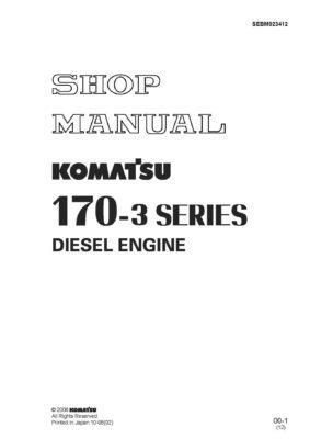 Komatsu DIESEL ENGINE 170-3 SERIES Workshop Repair Service Manual PDF Download