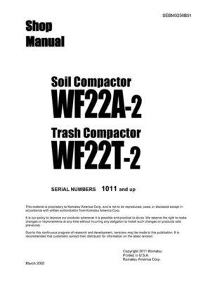 SOIL/TRASH COMPACTOR WF22A-2/WF22T-2 SERIAL NUMBERS 1011 and up Workshop Repair Service Manual PDF Download