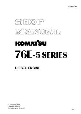 Komatsu DIESEL ENGINE 76E-5 SERIES Workshop Repair Service Manual PDF Download