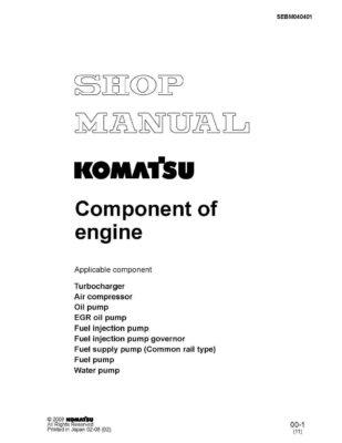 Komatsu KOMATSU COMPONENT OF ENGINE Workshop Repair Service Manual PDF Download