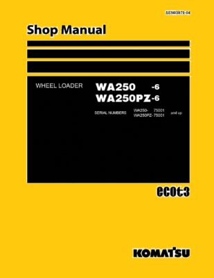WHEEL LOADER SEN03979-04 WA250-6, WA250PZ-6 SERIAL NUMBERS 75001 and up Workshop Repair Service Manual PDF Download