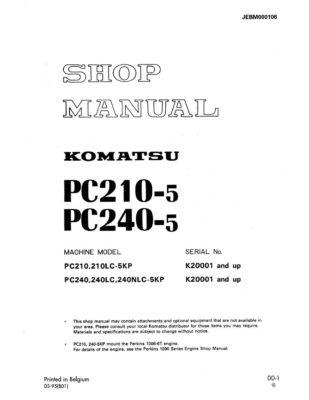 HYDRAULIC EXCAVATOR PC210-5, PC240-5 SERIAL NUMBERS K20001 and up Workshop Repair Service Manual PDF Download