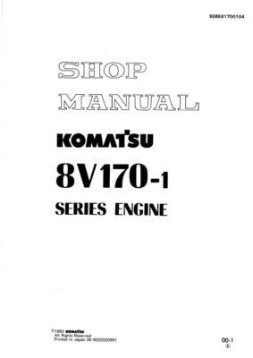 Komatsu DIESEL ENGINE 8V170-1 SERIES Workshop Repair Service Manual PDF Download