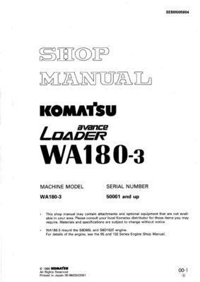 WHEEL LOADER WA180-3 SERIAL NUMBERS 50001 and up Workshop Repair Service Manual PDF Download