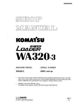 Komatsu WHEEL LOADER WA320-3 Workshop Repair Service Manual PDF Download