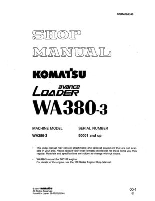 Komatsu WHEEL LOADER WA380-3 Workshop Repair Service Manual PDF Download