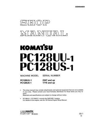 HYDRAULIC EXCAVATOR PC128UU-1/ PC128US-1 SERIAL NUMBERS 1715 and up Workshop Repair Service Manual PDF Download