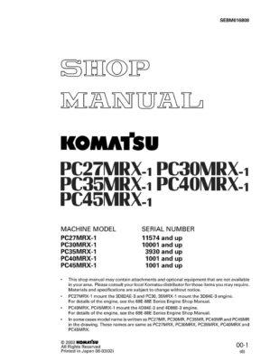 HYDRAULIC EXCAVATOR PC27MRX-1, PC30MRX-1, PC35MRX-1, PC40MRX-1, PC45MRX-1 SERIAL NUMBERS 1001 and up Workshop Repair Service Manual PDF Download