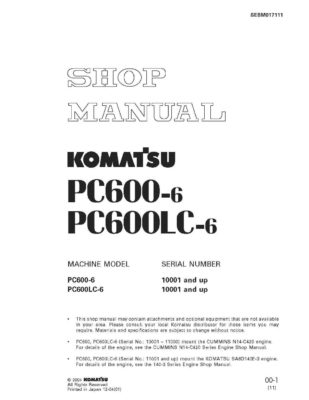 HYDRAULIC EXCAVATOR PC600-6, PC600LC-6 SERIAL NUMBERS 10001 and up Workshop Repair Service Manual PDF Download