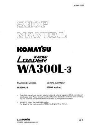 WHEEL LOADER WA300L-3 SERIAL NUMBERS 53001 and up Workshop Repair Service Manual PDF Download