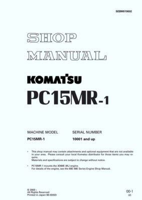 HYDRAULIC EXCAVATOR PC15MR-1 SERIAL NUMBERS 10001 and up Workshop Repair Service Manual PDF Download