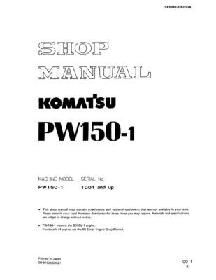 WHEEL EXCAVATOR PW150-1 SERIAL NUMBERS 1001 and up Workshop Repair Service Manual PDF Download