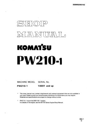 WHEEL EXCAVATOR PW210-1 SERIAL NUMBERS 10001 and up Workshop Repair Service Manual PDF Download