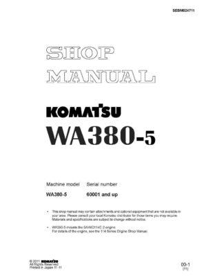 WHEEL LOADER WA380-5 SERIAL NUMBERS 60001 and up Workshop Repair Service Manual PDF Download