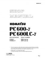 HYDRAULIC EXCAVATOR PC600-7, PC600LC-7 SERIAL NUMBERS 20001 and up Workshop Repair Service Manual PDF Download