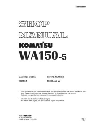 Komatsu WHEEL LOADER WA150-5 Workshop Repair Service Manual PDF Download