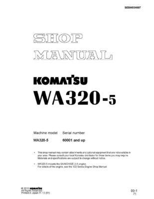 WHEEL LOADER WA320-5 SERIAL NUMBERS 60001 AND UP Workshop Repair Service Manual PDF Download