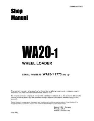 WHEEL LOADER WA20-1 SERIAL NUMBERS 1773 and up Workshop Repair Service Manual PDF Download