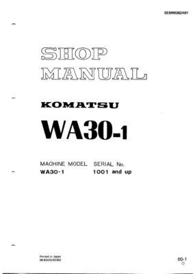 WHEEL LOADER WA30-1 SERIAL NUMBERS 1001 AND UP Workshop Repair Service Manual PDF Download