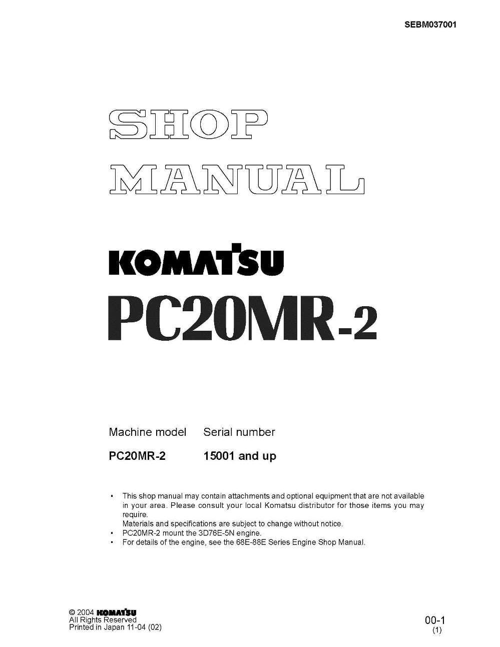 Komatsu Hydraulic Excavator Pc20mr 2 Workshop Repair Service Manual Pc75uu 1 Wiring Diagram Serial Numbers 15001 And Up Pdf Download